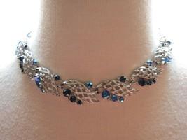 """VTG Lisner Blue AB Rhinestone Necklace Silver Links Designer 17"""" Leaf Motif Nice - $29.69"""