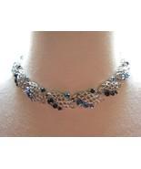"""VTG Lisner Blue AB Rhinestone Necklace Silver Links Designer 17"""" Leaf Mo... - $29.69"""