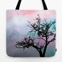Tote bag All over print Design 32 Tree Silhouette pink art painting L.Dumas - $26.99+