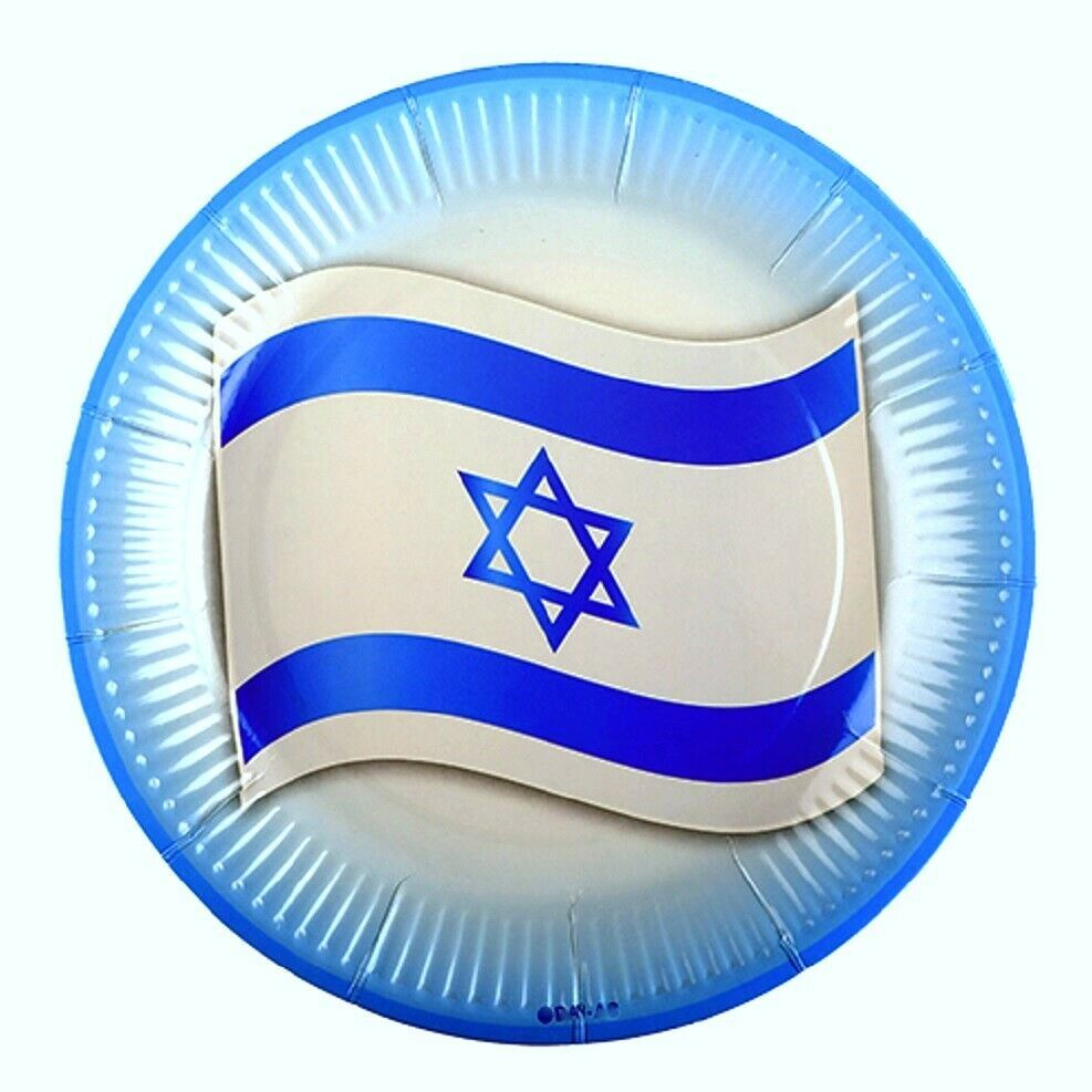 Judaica Paper Plates Israel Flag Children Atzmaut Pack of 10