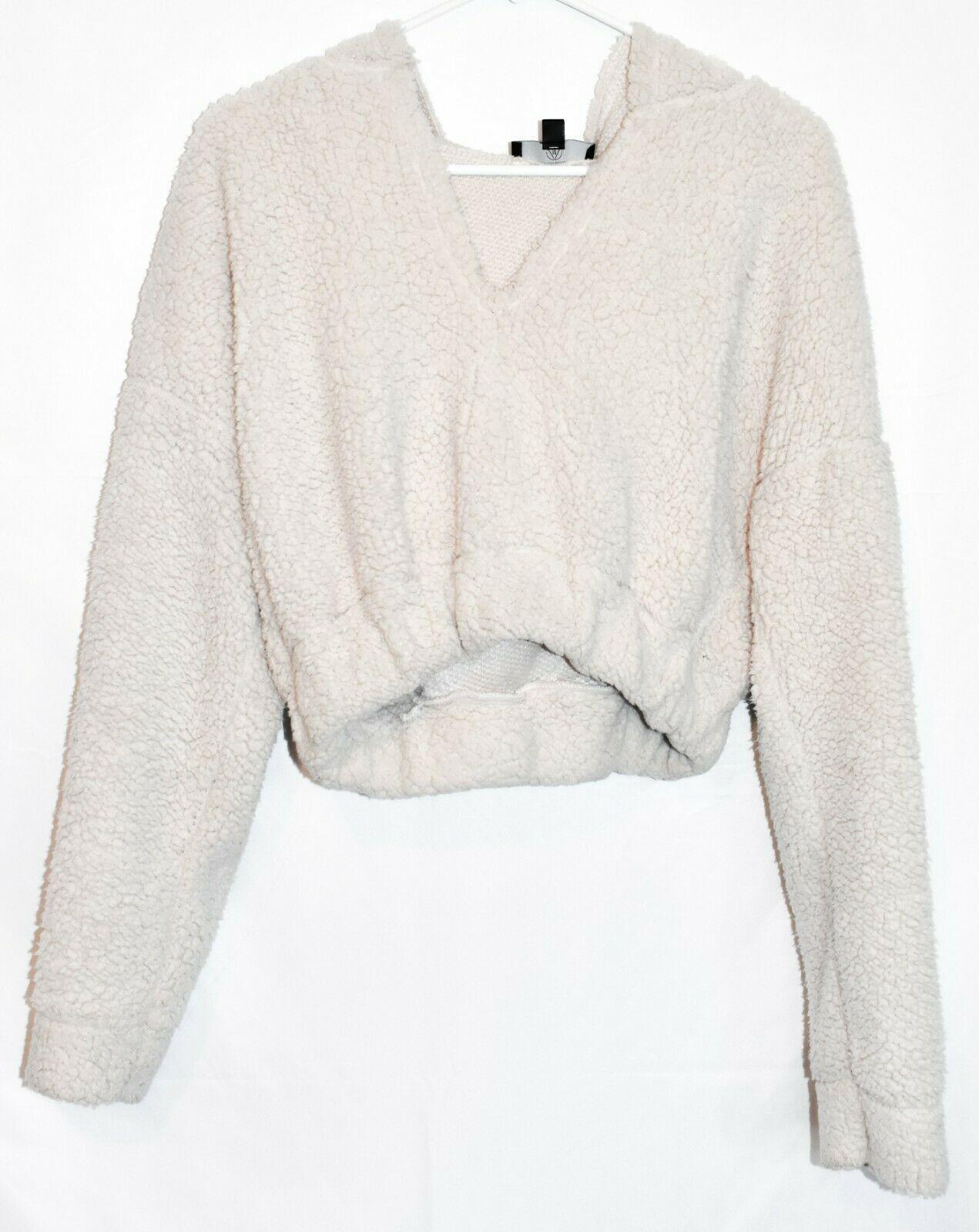 Missguided Women's Cream Oversized Elastic Waist Crop Fleece Hoodie Size 2