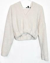 Missguided Women's Cream Oversized Elastic Waist Crop Fleece Hoodie Size 2 image 1