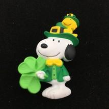 SNOOPY & WOODSTOCK vintage Hallmark pin - St Patrick's Day shamrock lepr... - $12.00