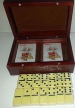 NEW 28 PIECE DOMINO SET W/2 DECKS CARDS IN WOOD GIFT BOX-ITEMS SEALED - $16.95