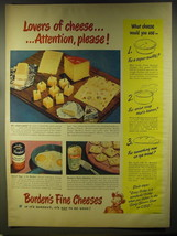 1946 Borden's Cheese Ad - Lovers of cheese.. Attention, please! - $14.99