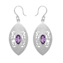 Marquise Amethyst Gemstone 925 Sterling Silver Hook Wedding Earring SHER... - $26.92