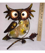 "Owl Figurine Shelf Sitter Decor Metal w/ Seashell Discs Center 3D 10"" Br... - $24.74"