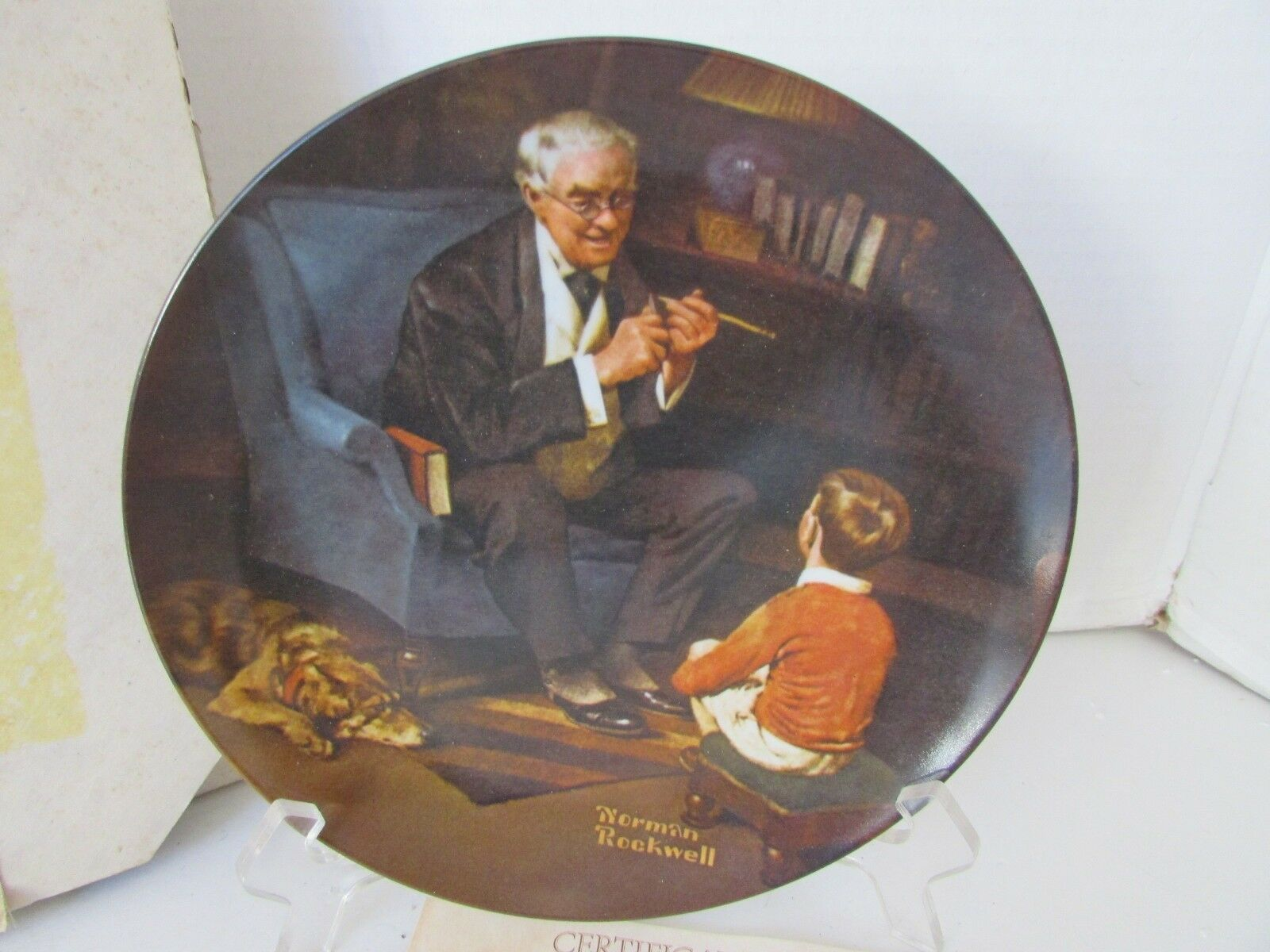 KNOWLES COLLECTOR PLATE THE TYCOON NORMAN ROCKWELL  #9393 1984 COA BOXED *SALE*