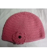 Womens Pink Winter Cap with Flower Motif on the Front - $5.00
