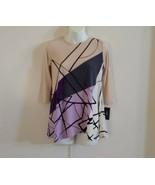 Alfani Women's 3/4 Sleeve Crew Neck Linework Color Beige Purple Gray Top... - $37.19