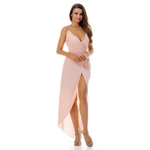 Romance Pink V Back And Neck Asymmetrical Wrap Dress - Free Shipping in US - $26.90