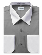 Berlioni Italy Men's White Collar & Cuffs Two Tone Charcoal Dress Shirt XL image 1