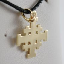 SOLID 18K YELLOW GOLD FLAT JERUSALEM CROSS, SMOOTH AND SATIN, MADE IN ITALY image 3