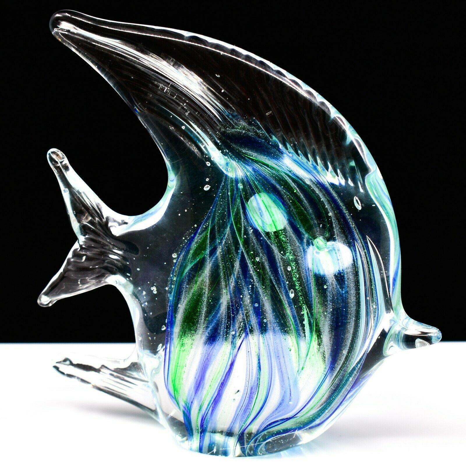 Dynasty Gallery Handmade Blue & Green Fish Glow in the Dark Art Glass Figurine