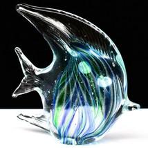 Dynasty Gallery Handmade Blue & Green Fish Glow in the Dark Art Glass Figurine image 1