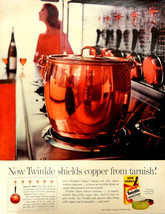 Vtg 1960 Twinkle Copper pan cleaner retro kitchen advertisement print ad... - $10.84