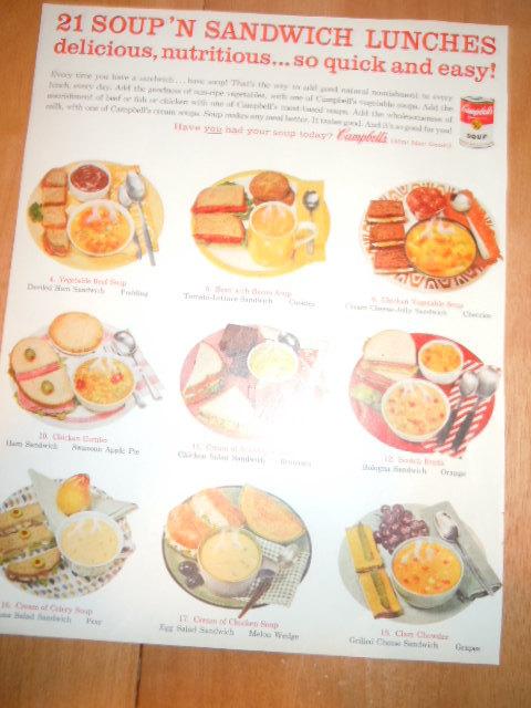 Vintage Campbell's Soup 21 Soup N Sandwich Lunches Print Magazine Advertisement