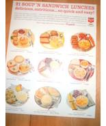 Vintage Campbell's Soup 21 Soup N Sandwich Lunches Print Magazine Advert... - $3.99