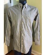 PETER MILLAR Cotton Long Sleeve Shirt Button Down Plaid Mens M Pocket bl... - $14.82
