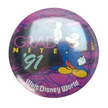 Vintage 1991 Walt Disney World Grad Nite Mickey Mouse Pinback Button - $11.88