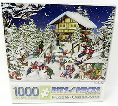 Ski Lodge Bits and Pieces Puzzle Winter Old Fashioned 1000 Pieces 45616 Jigsaw - $28.68