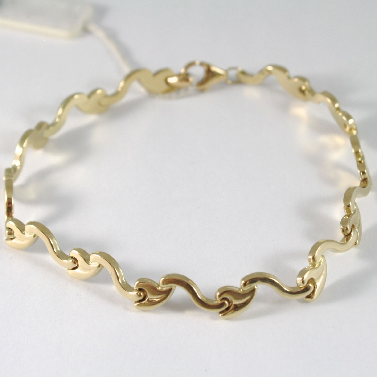 BRACELET YELLOW GOLD 750 18K WITH WAVES AND LEAVES, SEEDS RIGID, 21 CM LENGTH
