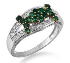 14K White Gold 0.51CT Real Natural Diamond Emerald Cluster Gem Birthston... - $392.85