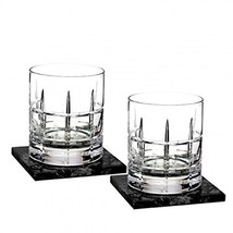 Cluin Double Old Fashioned pair, w/Marble Coasters Set/2 - $137.34
