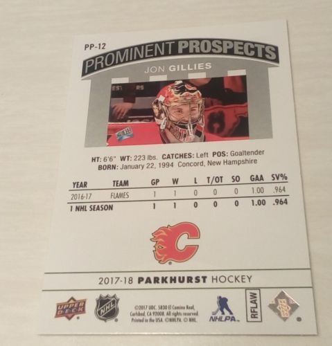 2017-2018 Gillies Parkhurst Prominent Prospects pp-12 Rare Rookie RC Upper Deck