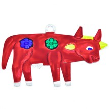 Hand Painted Folk Art Cow Punched Tin Ornament Made in Mexico