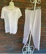 Vanity Fair Set 2 Pc Medium Lounge Pants Sleep Shirt Embroidery Detail A... - $49.00