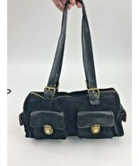 Maxx New York Black Suede & Leather Satchel Doctor Bag Purse Gold Hardware - $42.07
