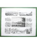 SWEDEN Norway Stockholm Bergen Dannemora - 1860 SCARCE Print Multiple Views - $42.08