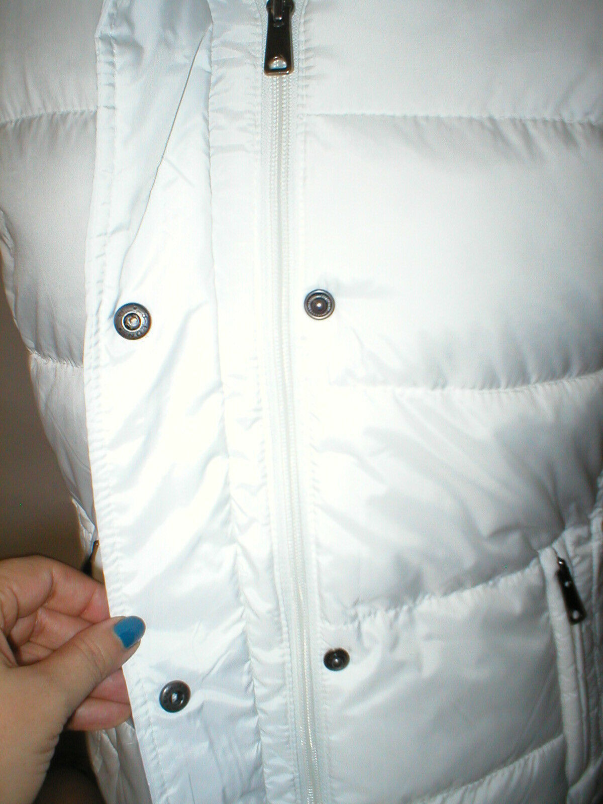 New NWT Womens S Banana Republic Faux Fur Hooded Vest White Removeable Sherpa image 4