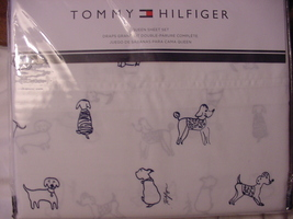 Tommy Hilfiger Navy Dogs on White Sheet Set Queen - $66.00