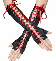 Adramata 1-2 Pairs Long Fingerless Gloves Women Girls Black Red (C:red) - $16.56