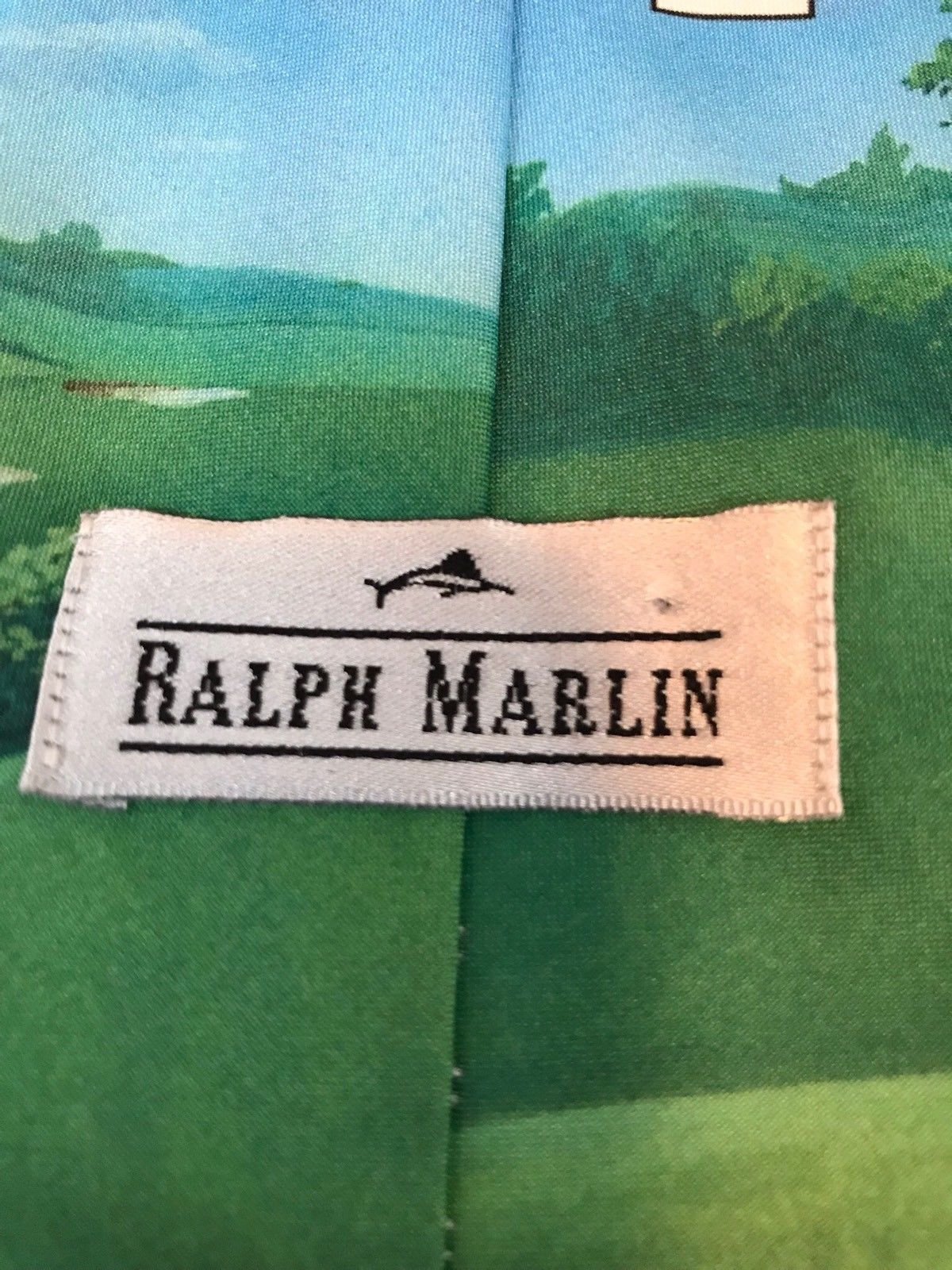 Three Stooges Golf Color Ralph Marlin Larry Moe & Curly 1996 Classic Neck Tie image 3
