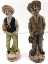 "Homco Figurines 2 Friendly Farmer Types w Carrots Bread Home Decor 7"" Re... - $23.38"
