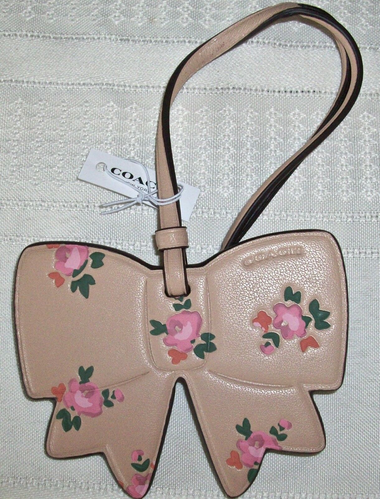 Coach Boxed Leather Printed Floral Bow Charm Ornament 27417 Beechwood image 3