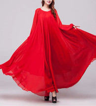 Lady Plus Size Long Chiffon Dress Oversized Summer Holiday Dress,Long Sleeve,Red image 2