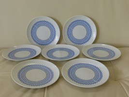 ROSENTHAL ROMANZE SECUNDA BLUE BREAD AND BUTTER PLATES, GERMANY SET OF 7 - $49.00