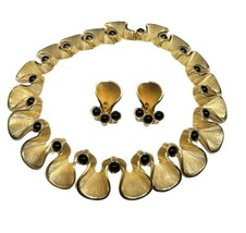 Vintage Signed VO NECKLACE AND EARRING SET Runway Les Bernard 1980s Over... - $490.38