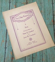 Vtg No One Knows Sheet Music Nona G. And Jesse R. Croxford Collectible C... - $14.84