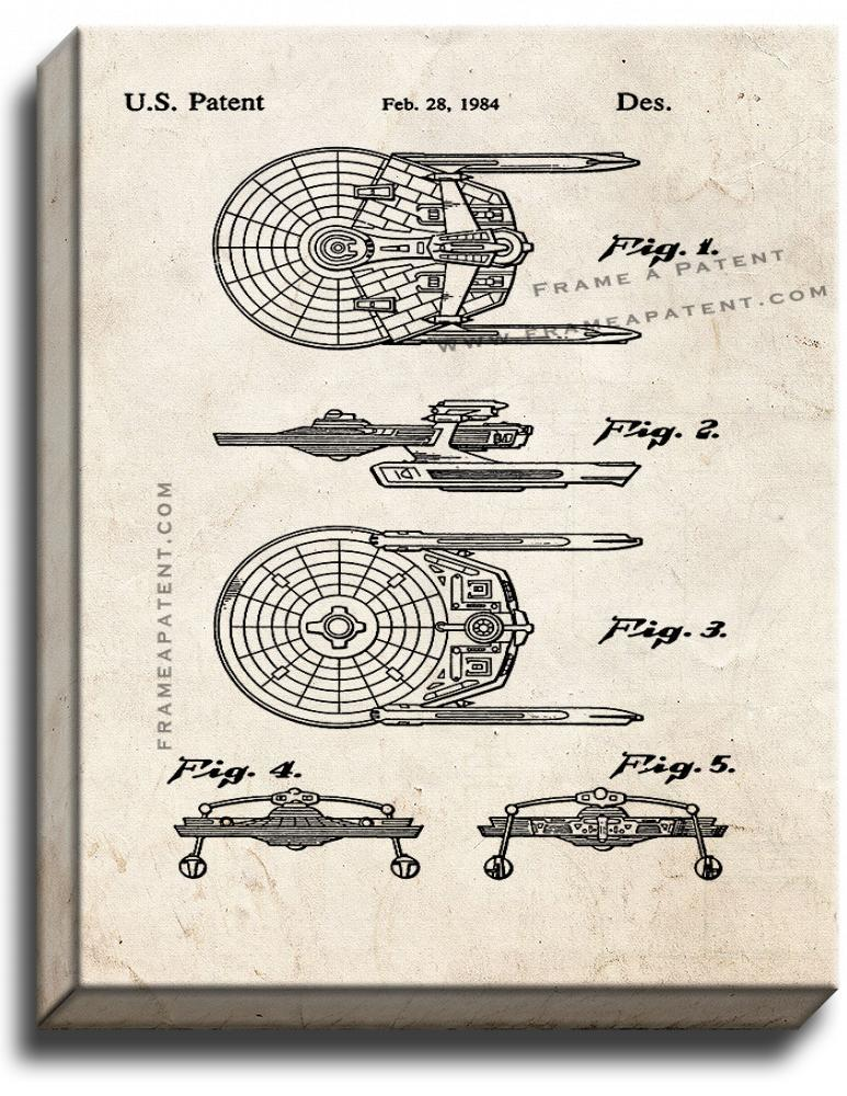 Primary image for Star Trek USS Reliant Patent Print Old Look on Canvas