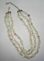 Vintage 1950's 3 Strand Aurora Borealis Crystal Bead Necklace Lisner C1360 - $32.80