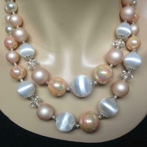 Vintage, 2-Strands, Pink and White Graduated Beads 18-inch Necklace - $11.35
