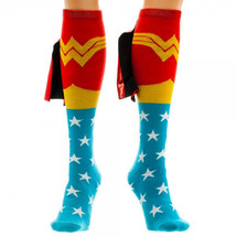 Wonder Woman Logo Red, Blue and Gold Knee High Derby Socks with Shiny Ca... - $12.55