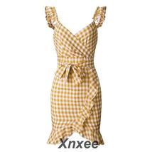 Women's Red and White Checked Vintage Ruffle Slit Mini Sundress Dress image 7
