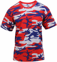 Mens Red White Blue Camo T-Shirt Camouflage Military Tee Patriotic USA A... - $11.99+