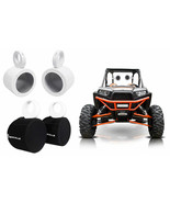 """(2) Rockville 5.25"""" White Tower Speaker Pods+Waterproof Covers For RZR/A... - £147.37 GBP"""